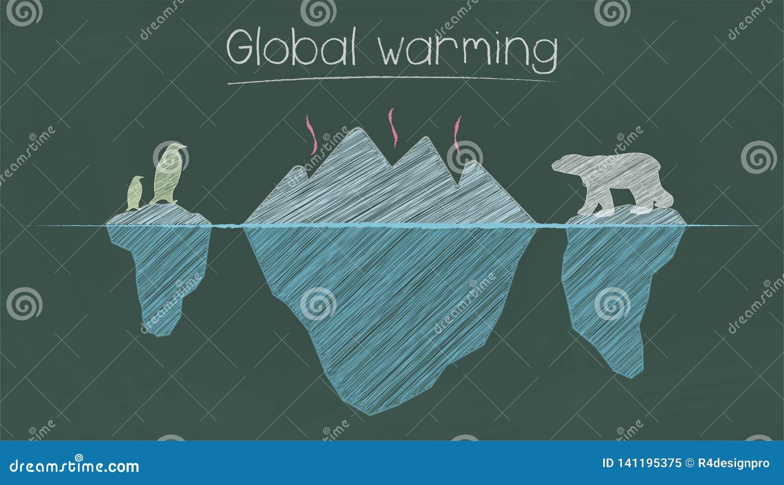 Globalnego ocieplenia zdanie na chalkboard