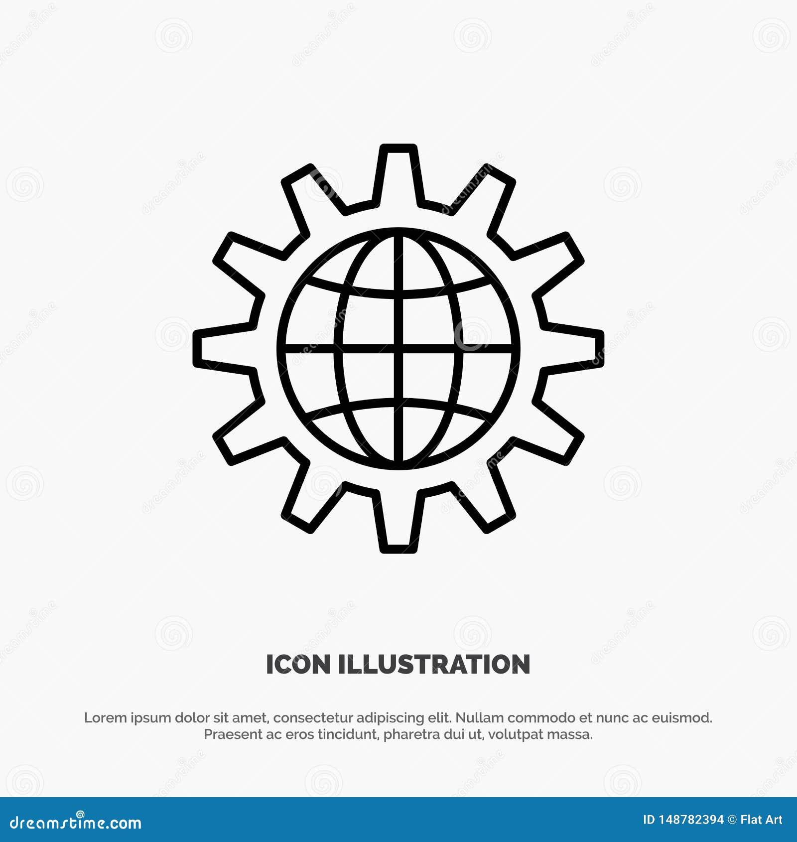 Globalny, biznesowy, deweloperski, rozwojowy, narzędzi, pracy, wektor ikon linii światowej