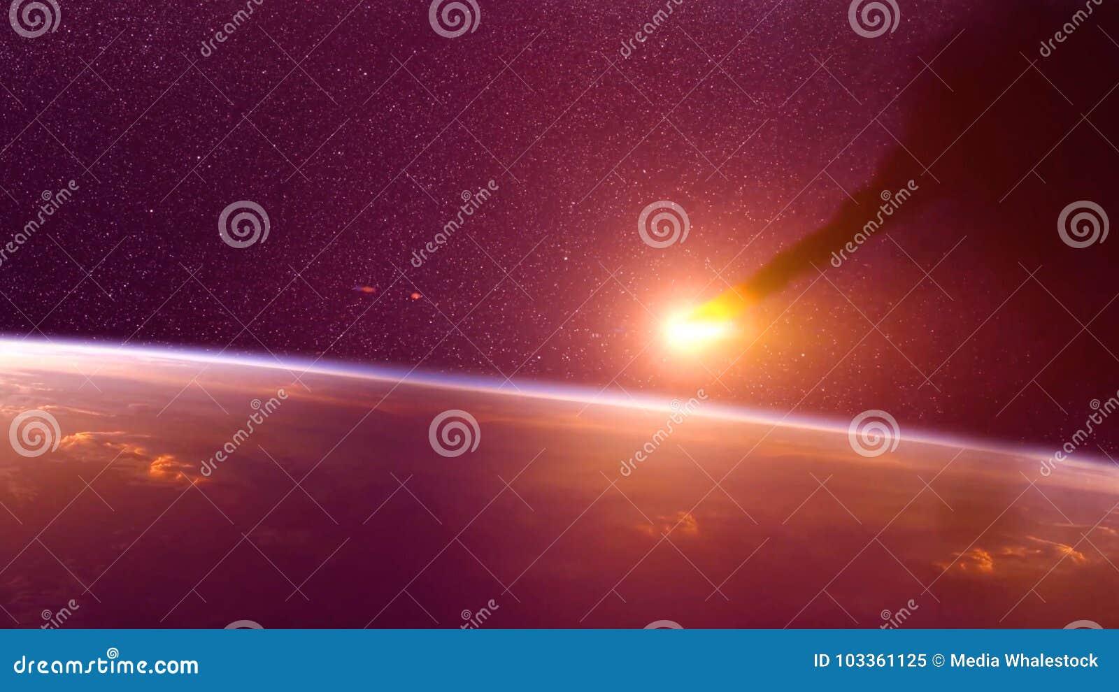 Globalny wypadek - karambol asteroida z ziemią Meteorytu grzejny up jako ono spadek w Ziemską ` s atmosferę
