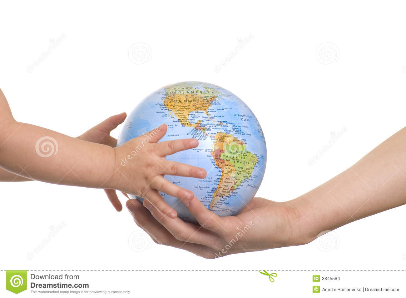 Globe In Baby's Hands. Stock Images