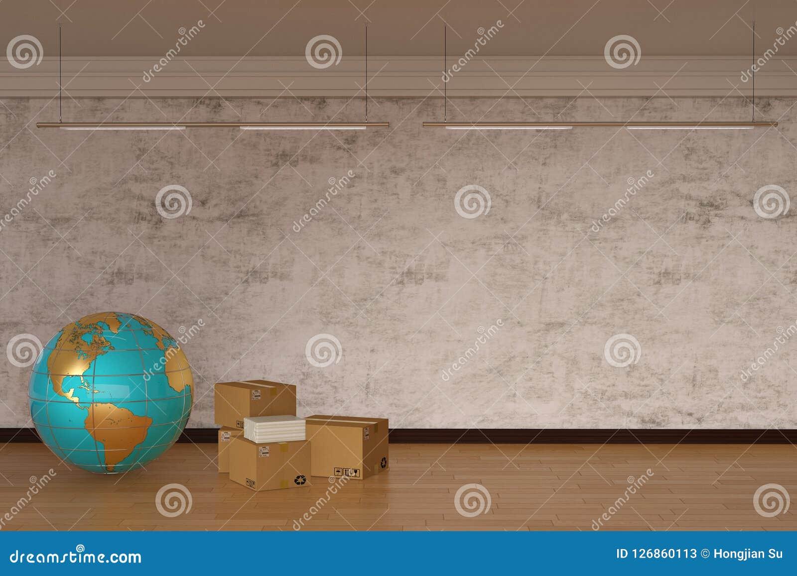 Globe and carton on wooden floor. 3D illustration.
