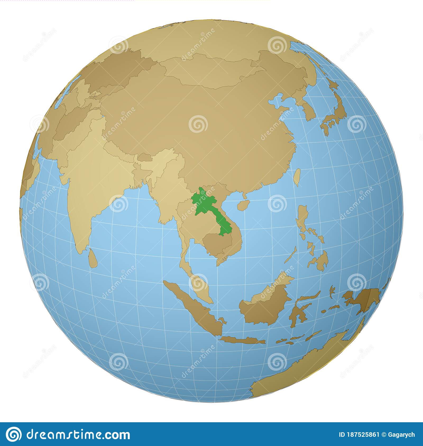 Globe Centered To Laos Country Highlighted With Stock Vector Illustration Of Laotian Cartography 187525861