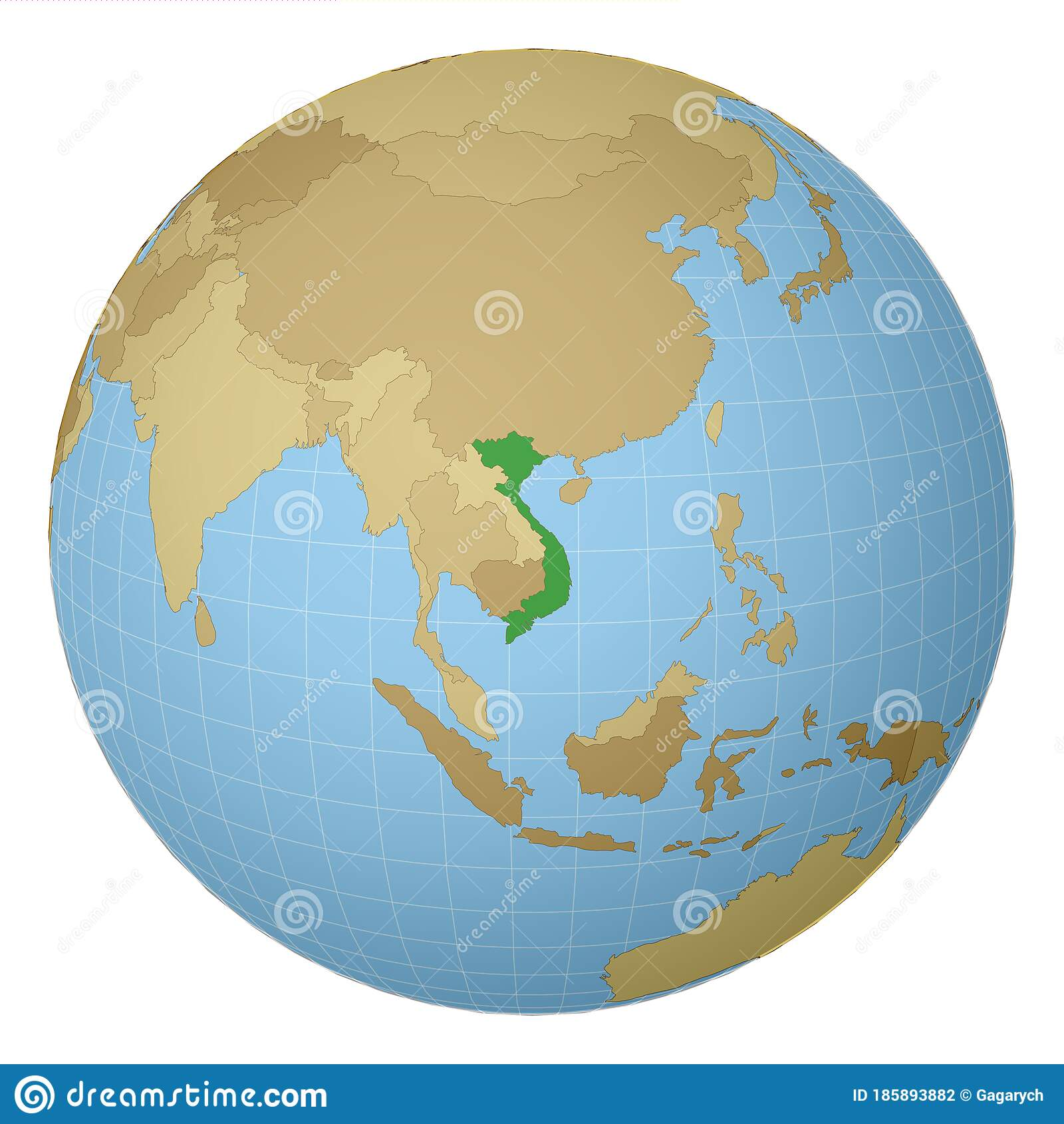 Globe Centered To Vietnam Stock Vector Illustration Of Landmark 185893882