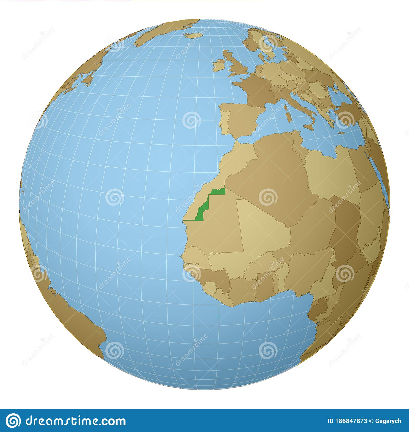 Image of: Globe Centered To Western Sahara Stock Vector Illustration Of Northern Abstract 186847873
