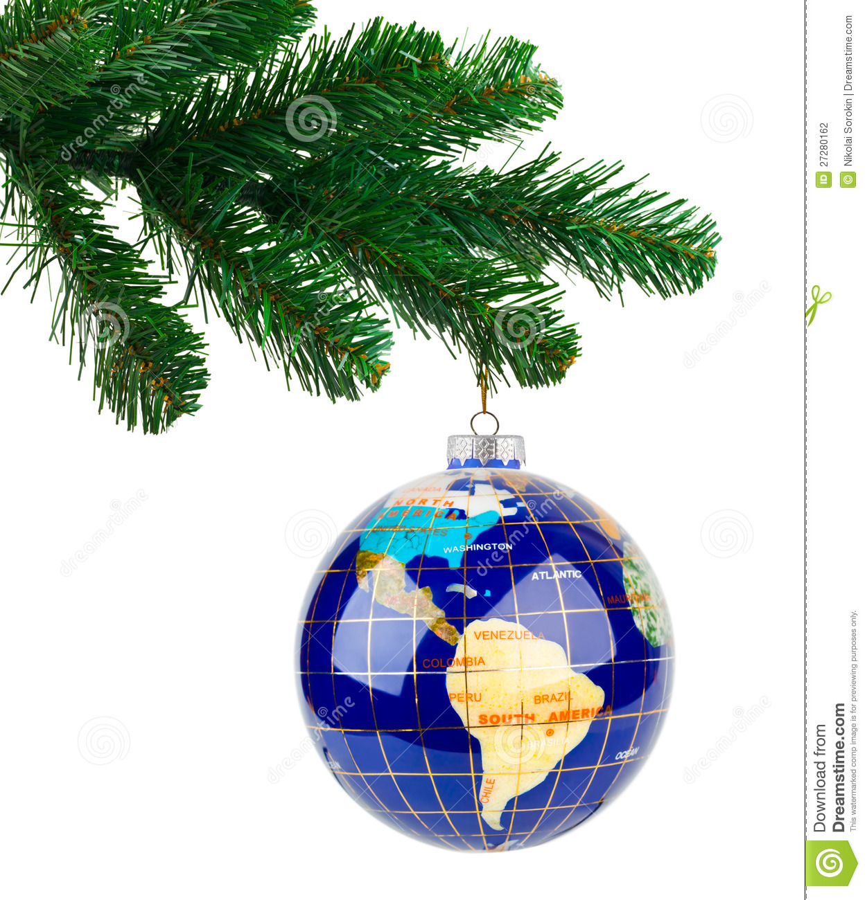 World globe christmas ornaments - Globe And Christmas Tree