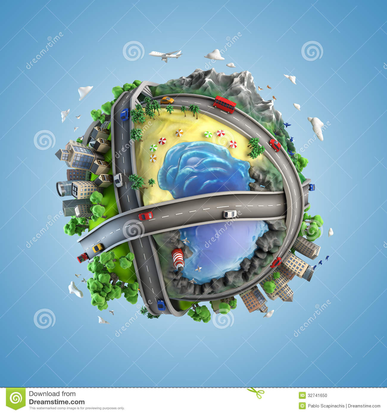 Concept globe showing diversity and transport in the world in a ...