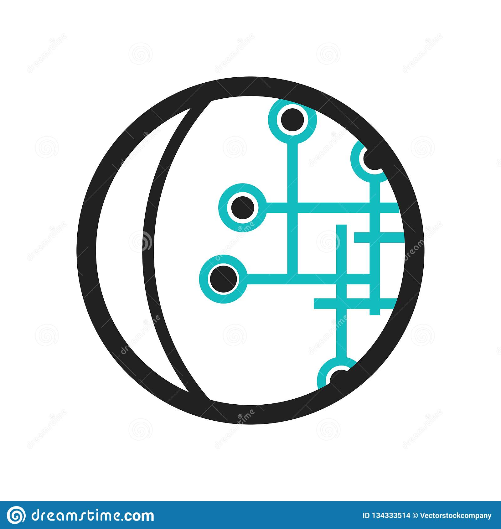Globe Connected Circuit Icon Vector Sign And Symbol Isolated