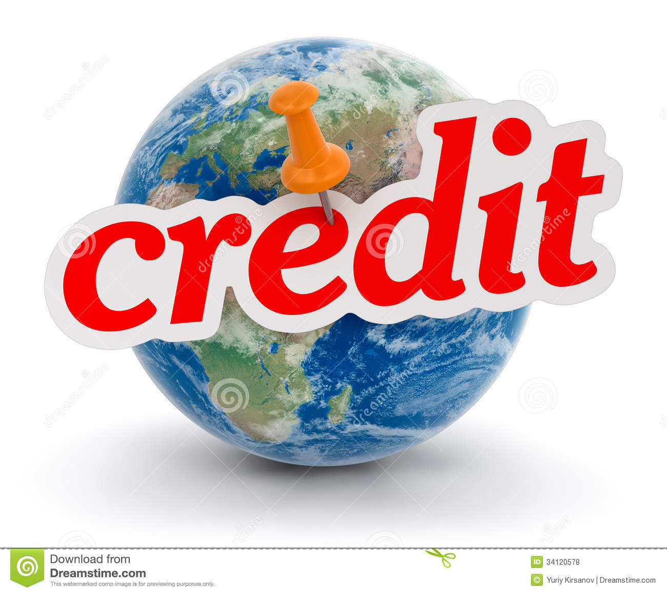 Globe and Credit (clipping path included)