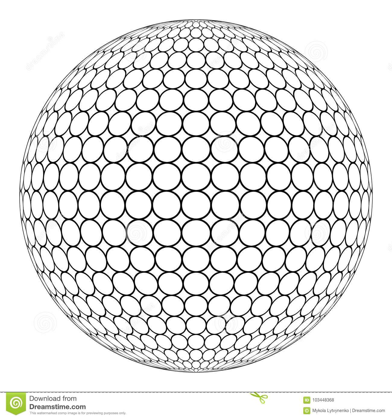 Globe 3D sphere with ring mesh on the surface, vector of the round structure of the sphere