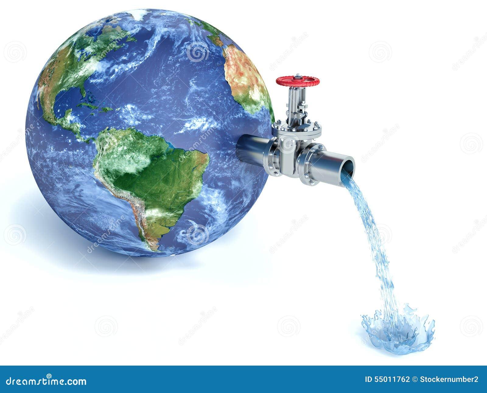 globe de la terre avec de l 39 eau de chute robinet d 39 eau illustration stock illustration du. Black Bedroom Furniture Sets. Home Design Ideas
