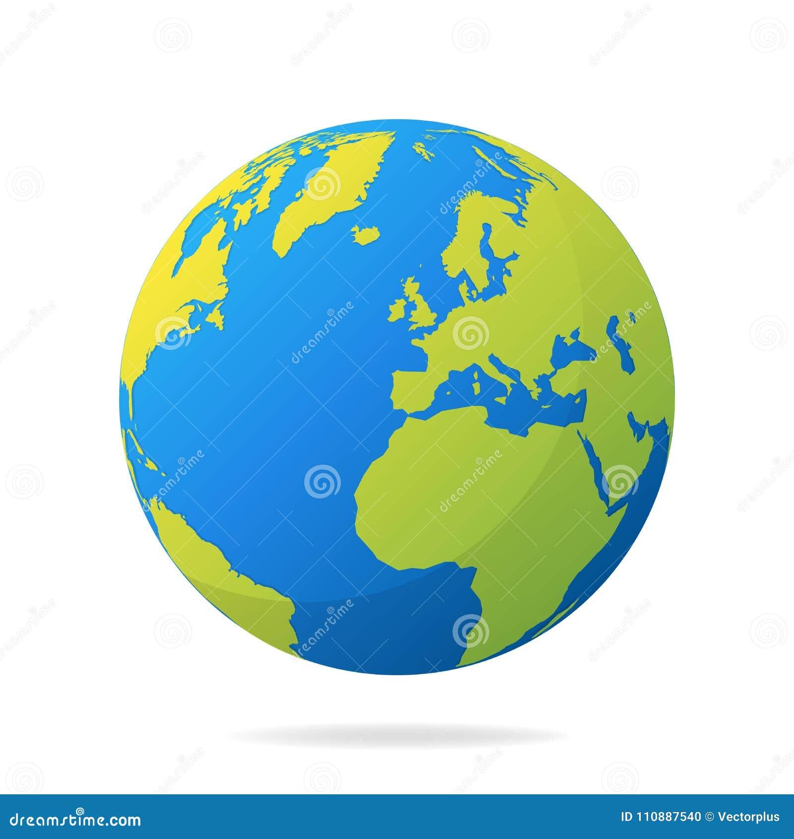 Carte Du Monde Realiste.Globe De La Terre Avec Les Continents Verts Concept Moderne