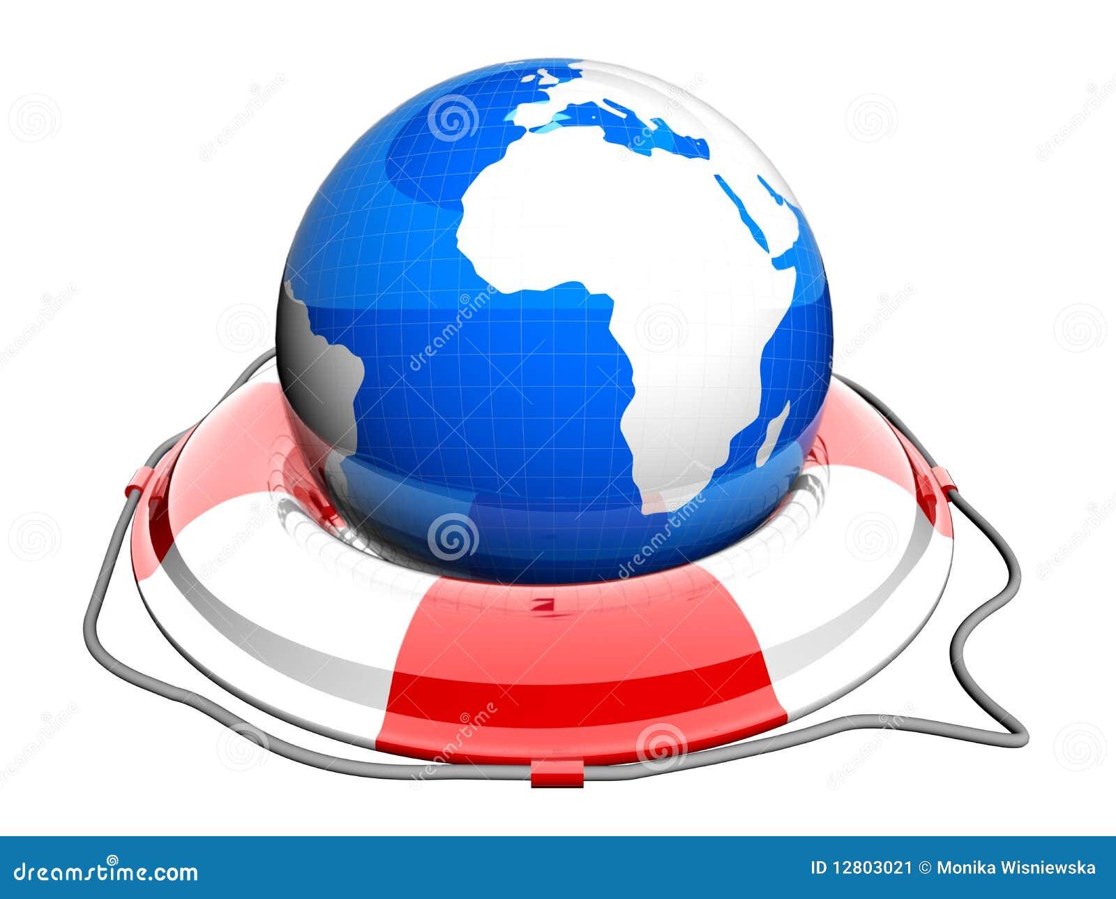 Globe de la terre sur la bouée de sauvetage