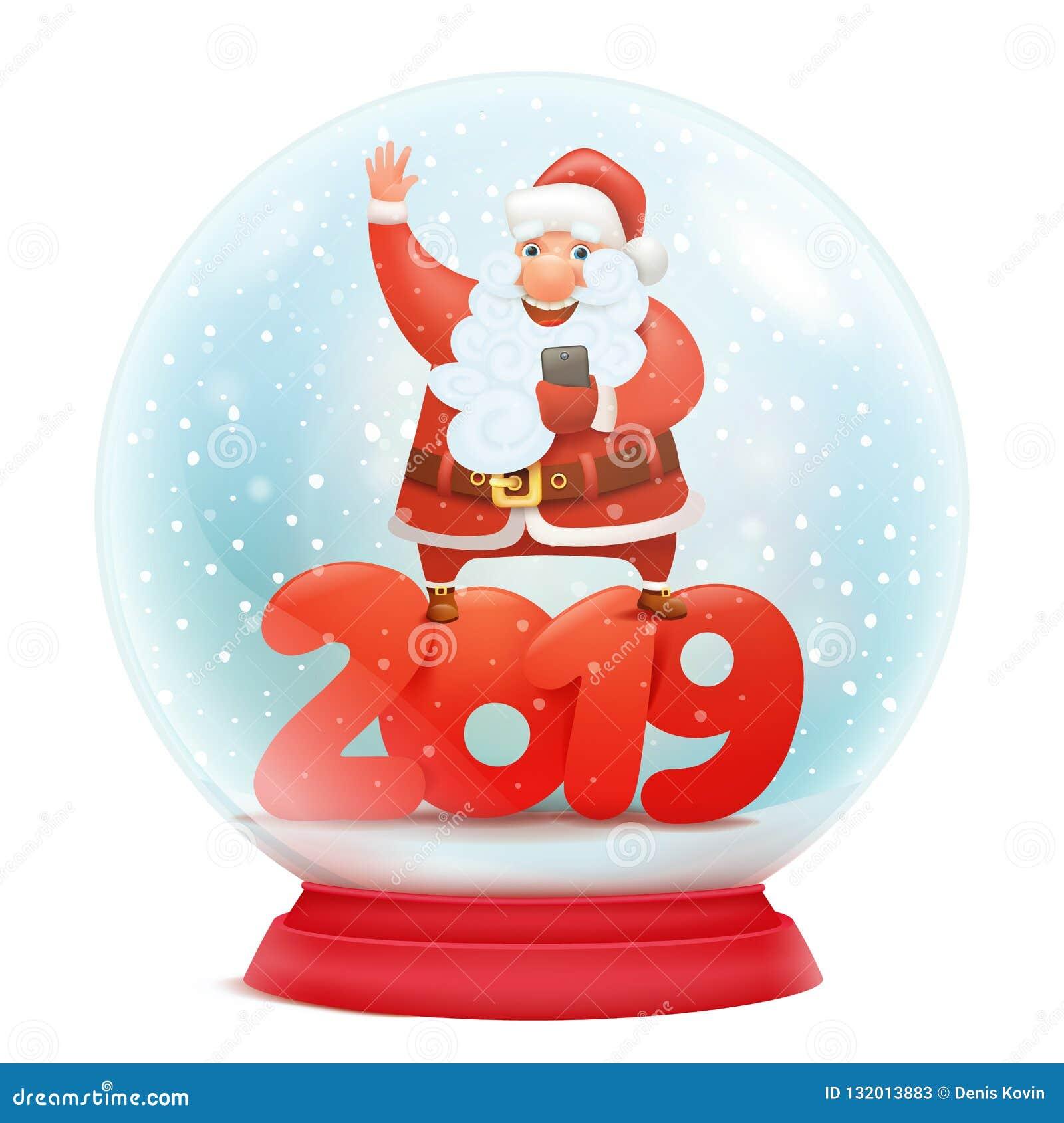 8f0fe6fdaeb8 Globe de neige avec le père noël Calibre 2019 de carte d invitation de  nouvelle année