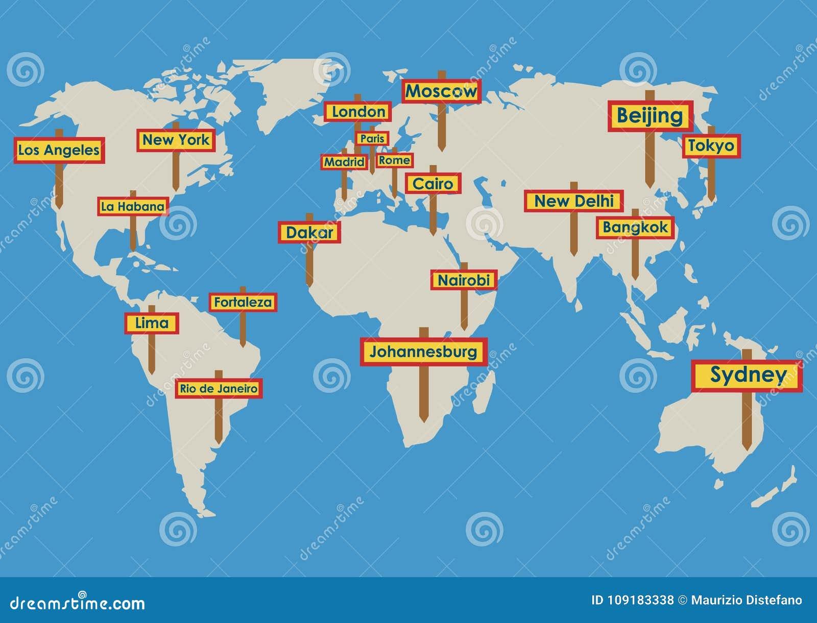 Globe de vecteur avec des destinations