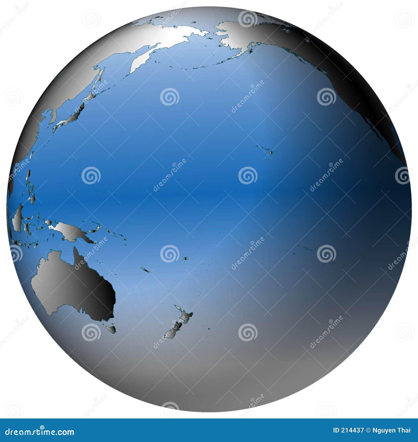 Globe du monde : Pacifique, avec les océans bleu-ombragés