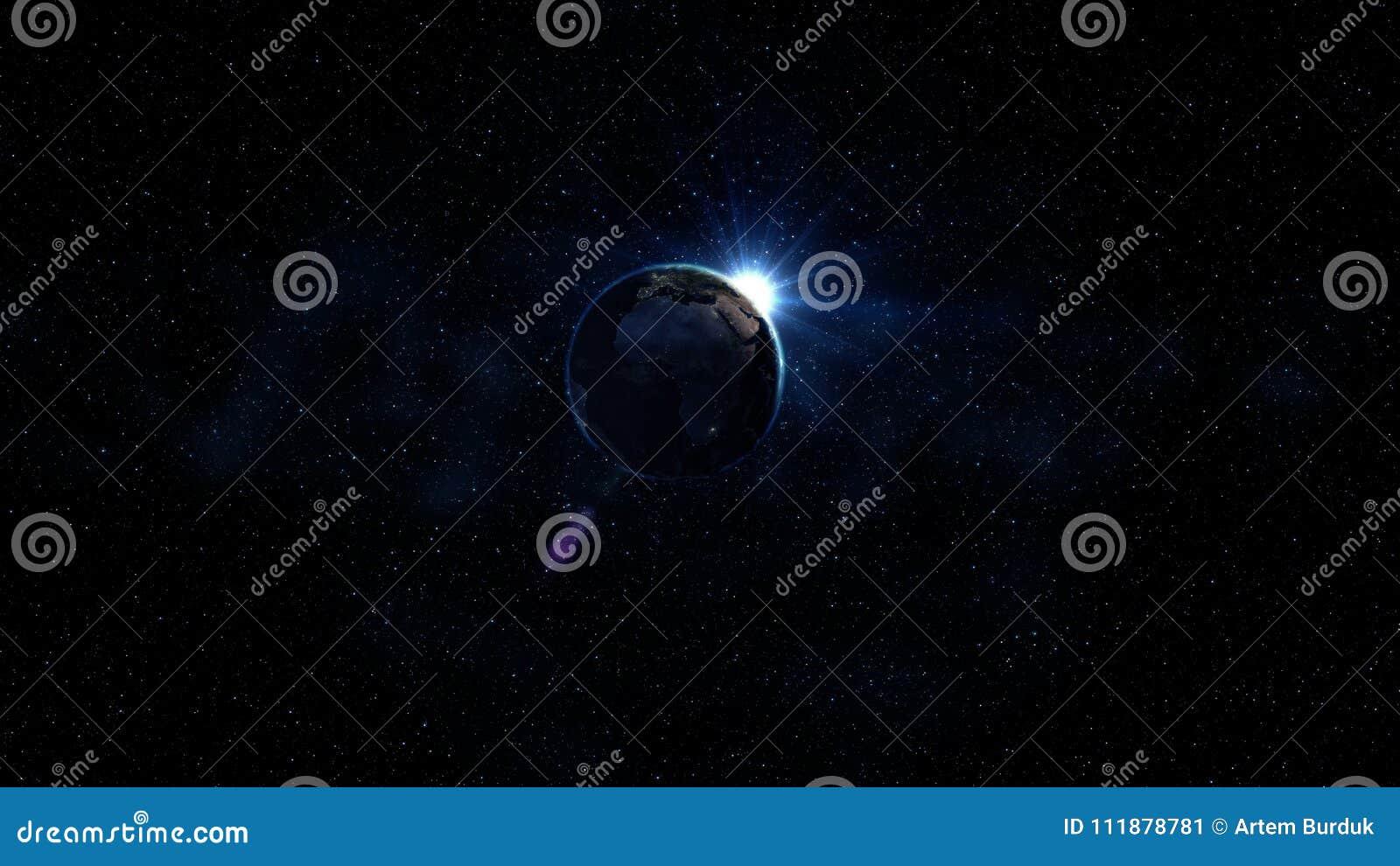 Globe du monde du rendu 3D de l espace Vue bleue de lever de soleil de l espace Représentation du ciel nocturne avec les étoiles