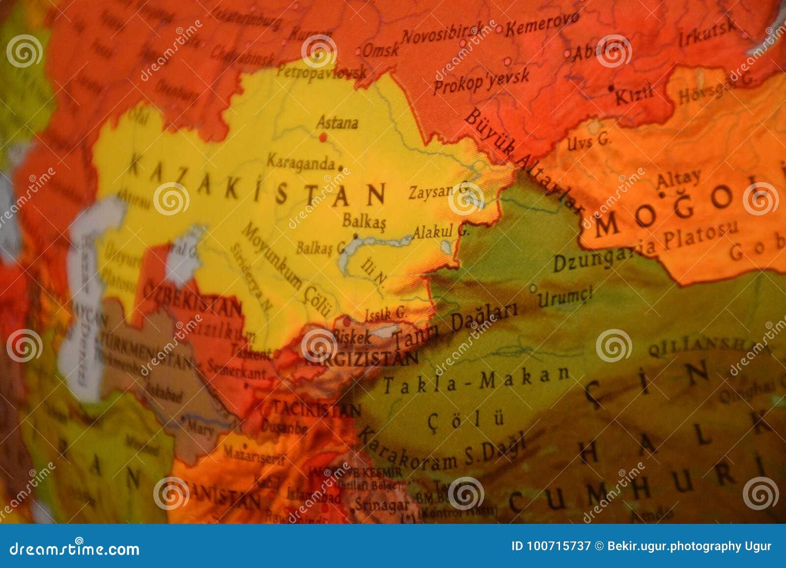Geography Map Of England.Globe Kazakhstan Mongolian And China Stock Image Image Of Earth