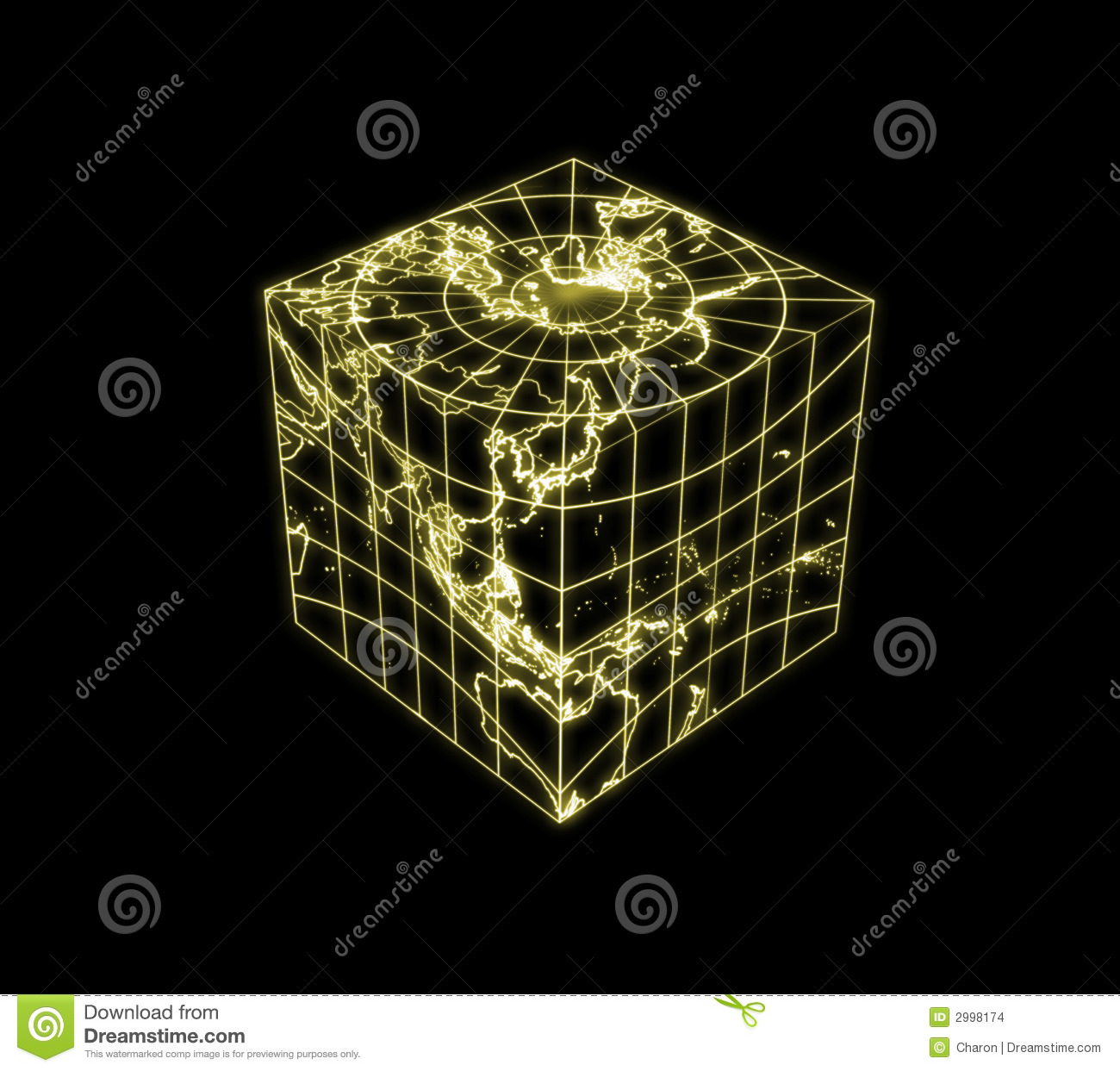 Cubic Globe With World Map Outline Royalty Free Stock Photography ...