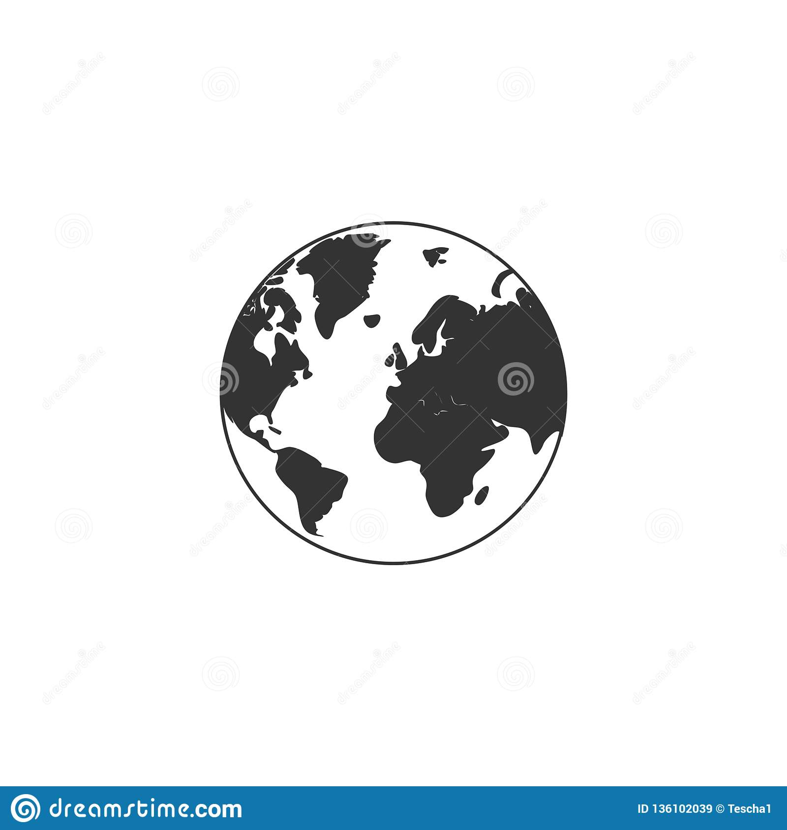 Browser, earth, globe, internet, map, planet, world icon   Earth Flat Icon Eps