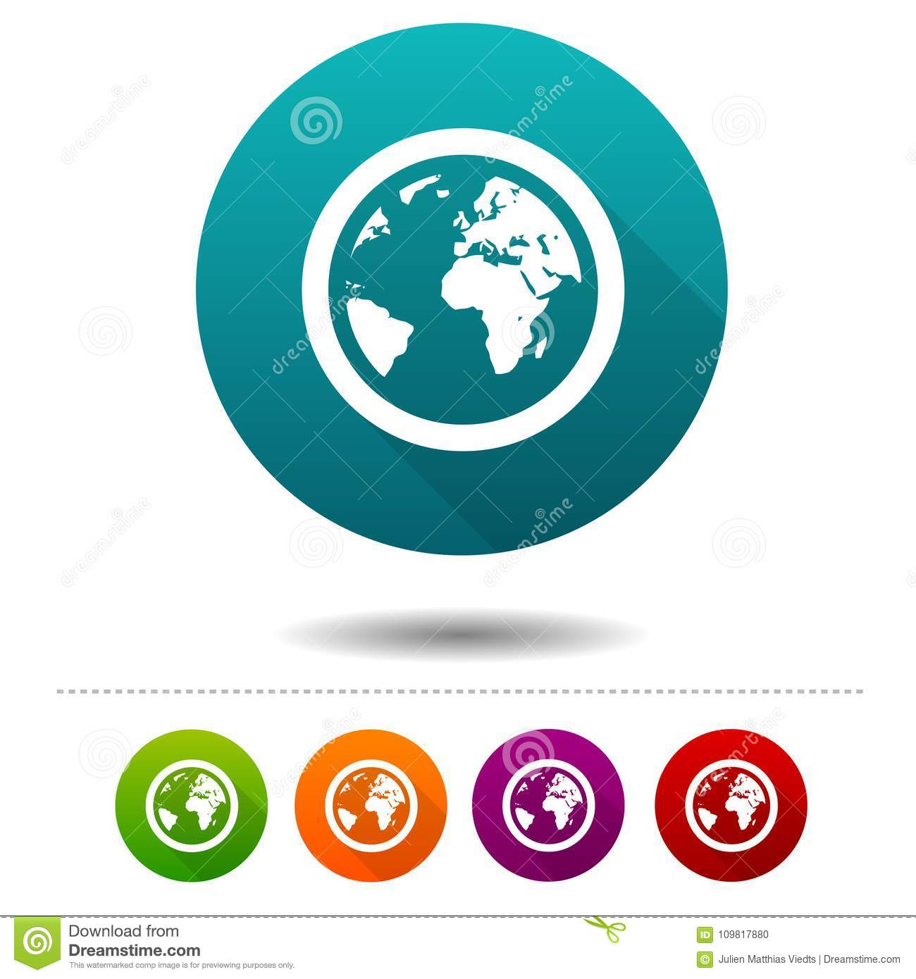 Globe Earth icons. Planet signs. World symbol. Vector Circle web buttons.