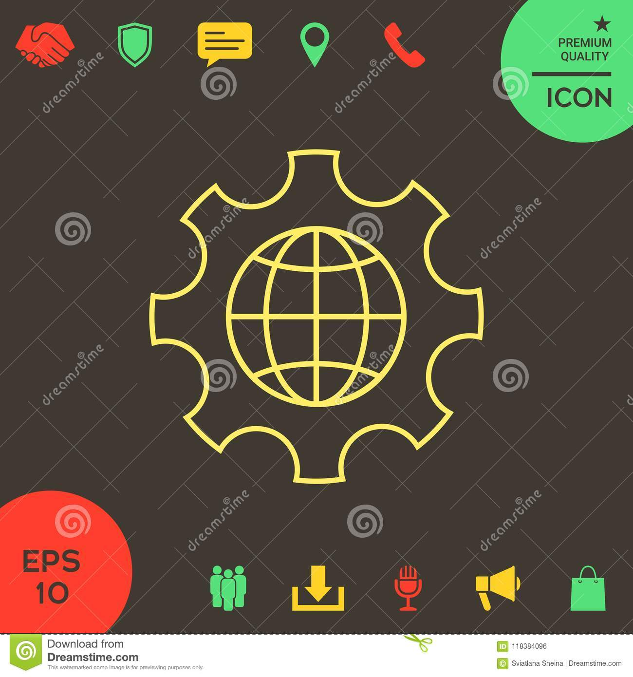 Globe Of The Earth Inside A Gear Or Cog Setting Parameters Global Diagram Options