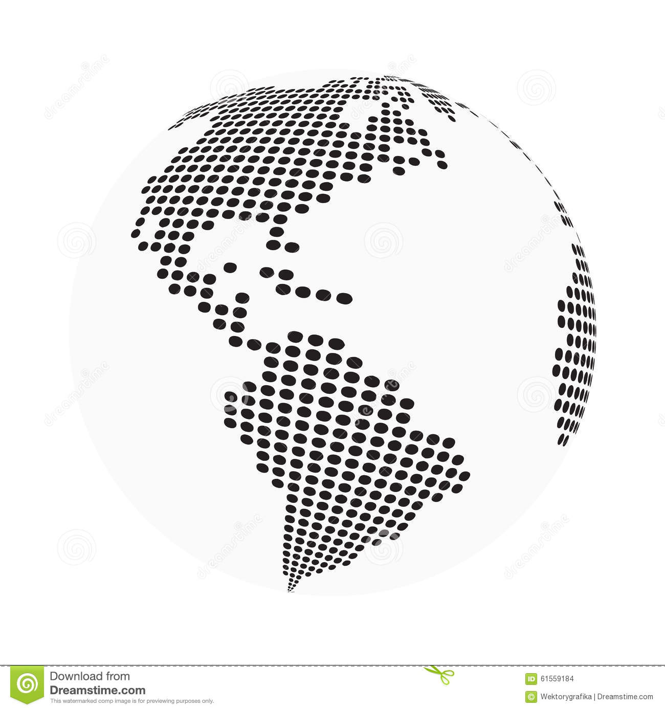 Globe earth world map - abstract dotted vector background. Black and white silhouette illustration