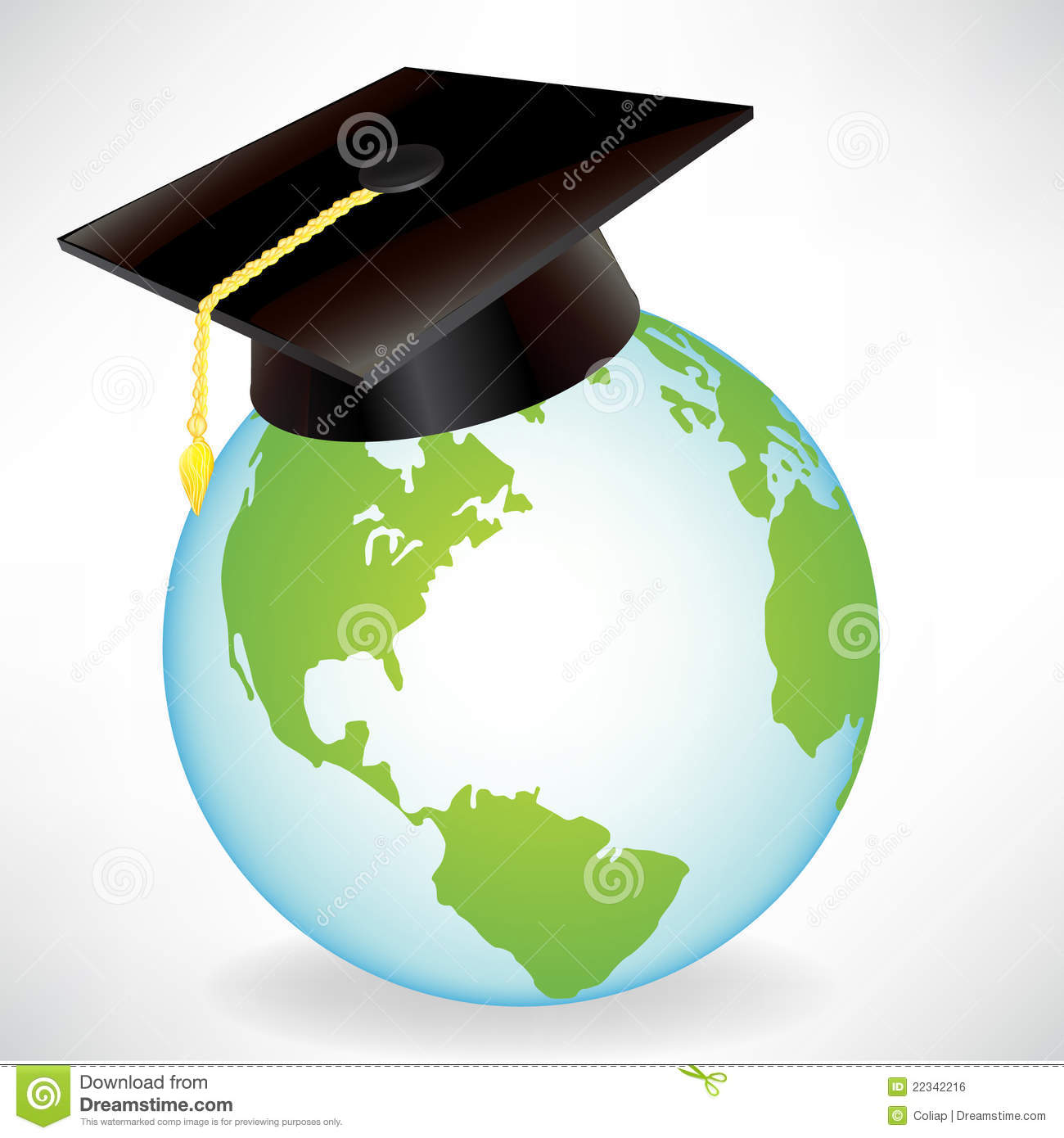 Globe With Graduation Cap Stock Vector Illustration Of