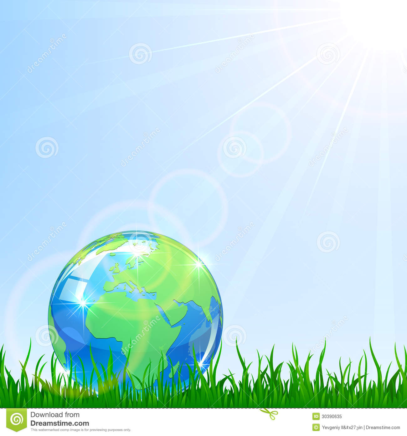 Globe In A Grass Royalty Free Stock Photo - Image: 30390635