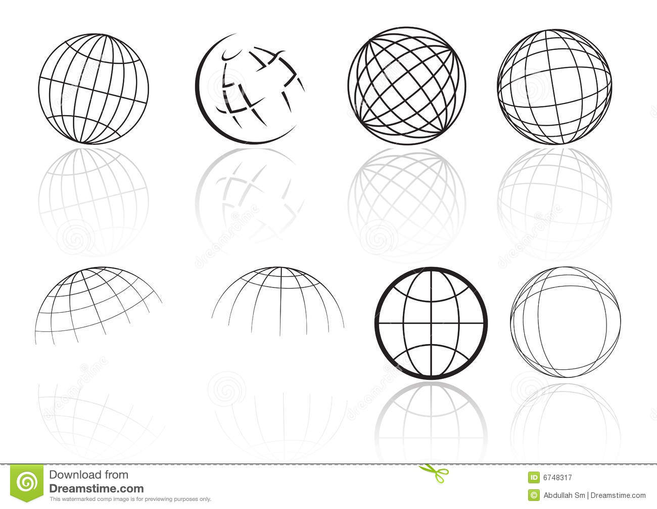 Globe grid reflection - vector