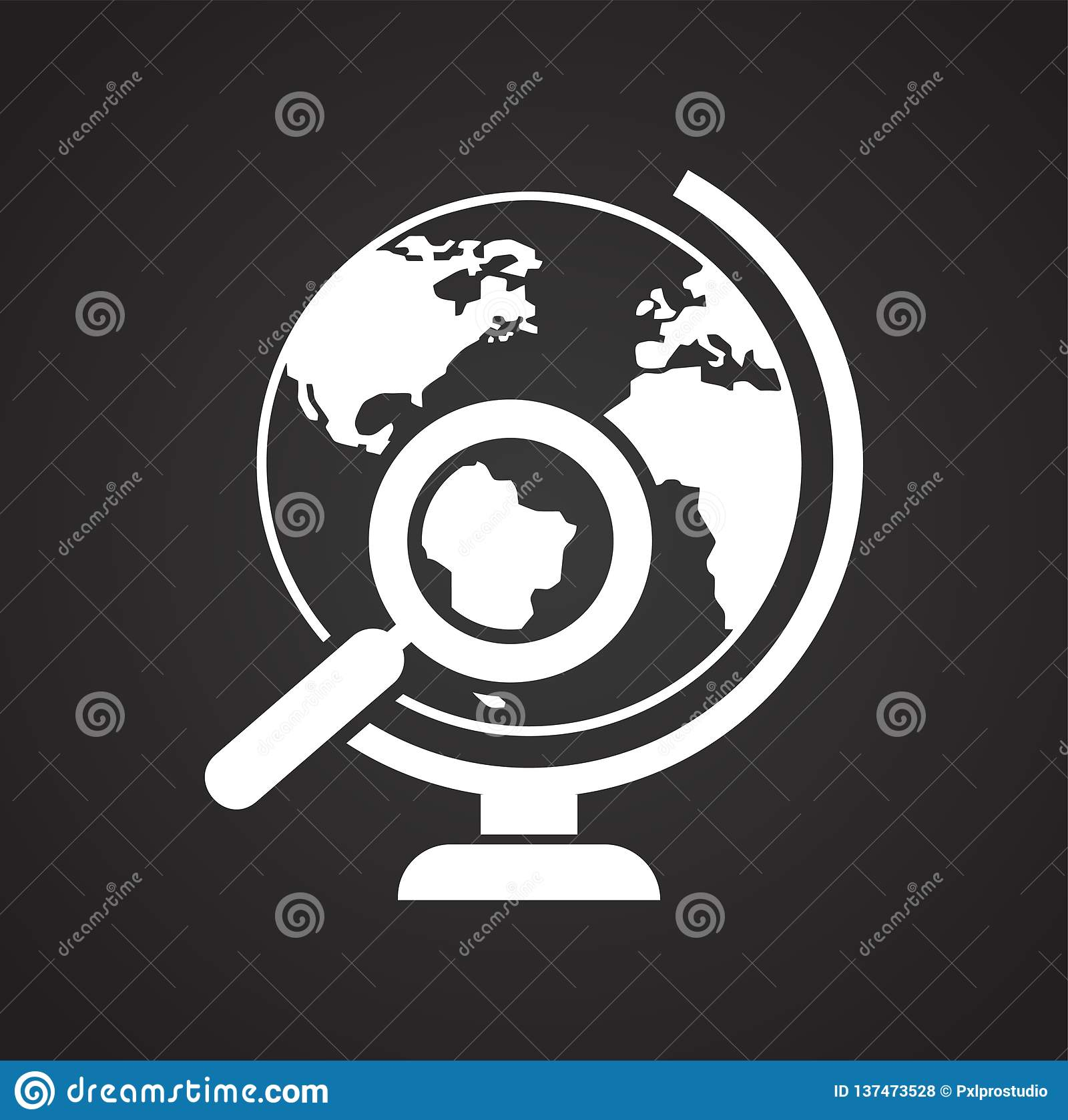 Globe Icon On Black Background For Graphic And Web Design