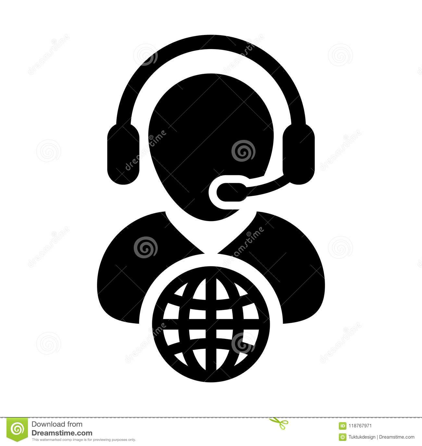 Globe Icon Vector Male Customer Service Person Profile