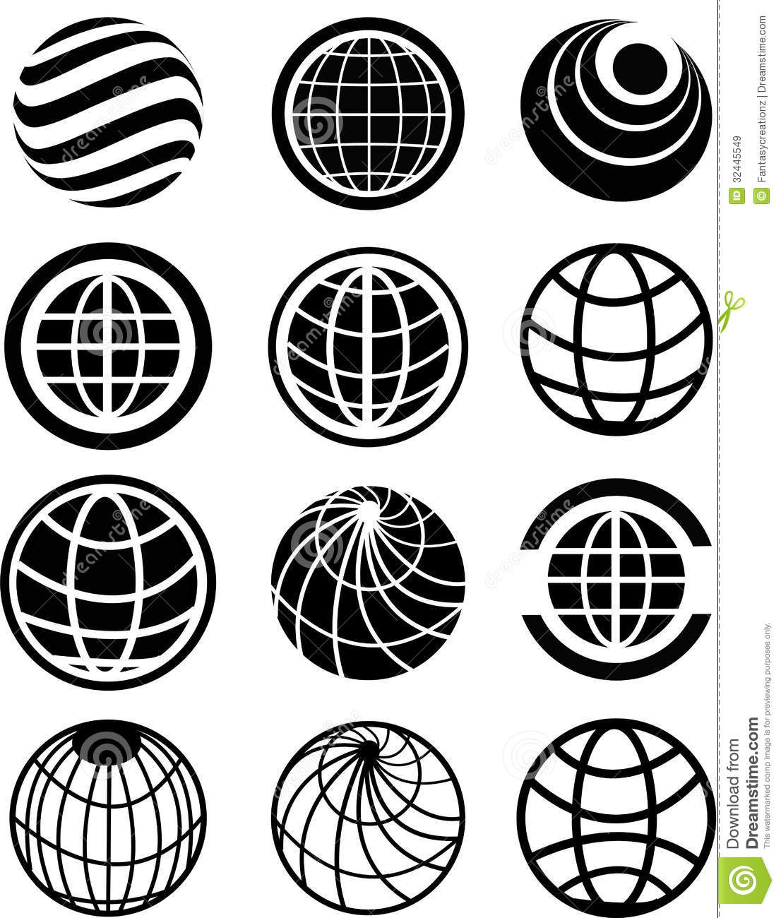 Six Clipart Black And White Globe Icons Royalty Fr...
