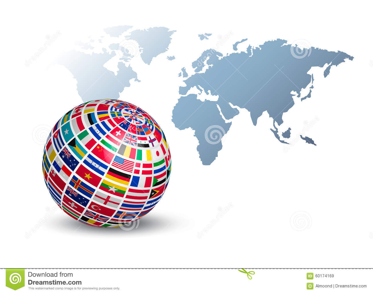 Globe made out of flags on a world map background stock vector globe made out of flags on a world map background gumiabroncs Gallery