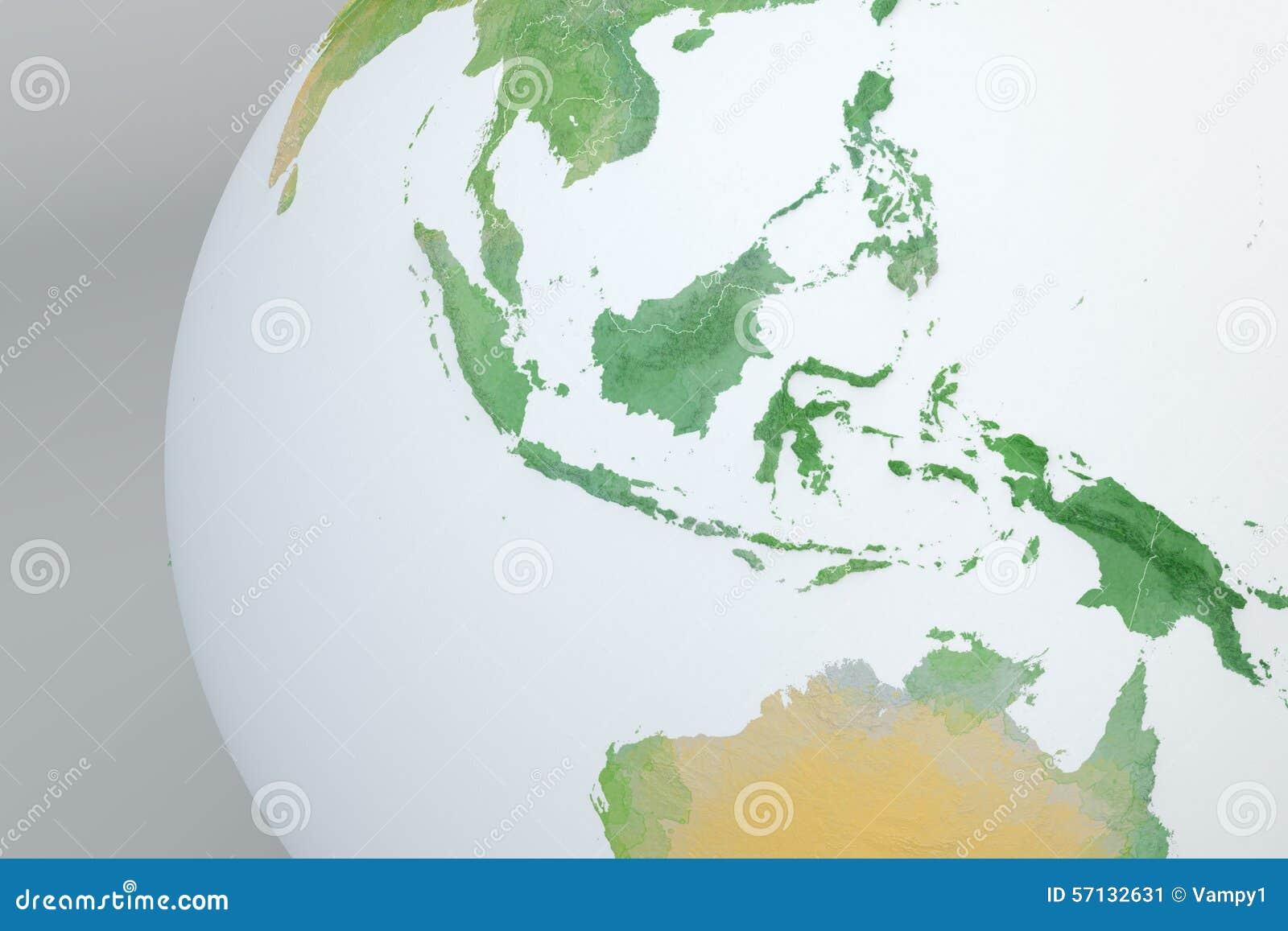 Globe Map Of Asia, Indonesia, Malaysia, Australia, Relief Map Stock ...