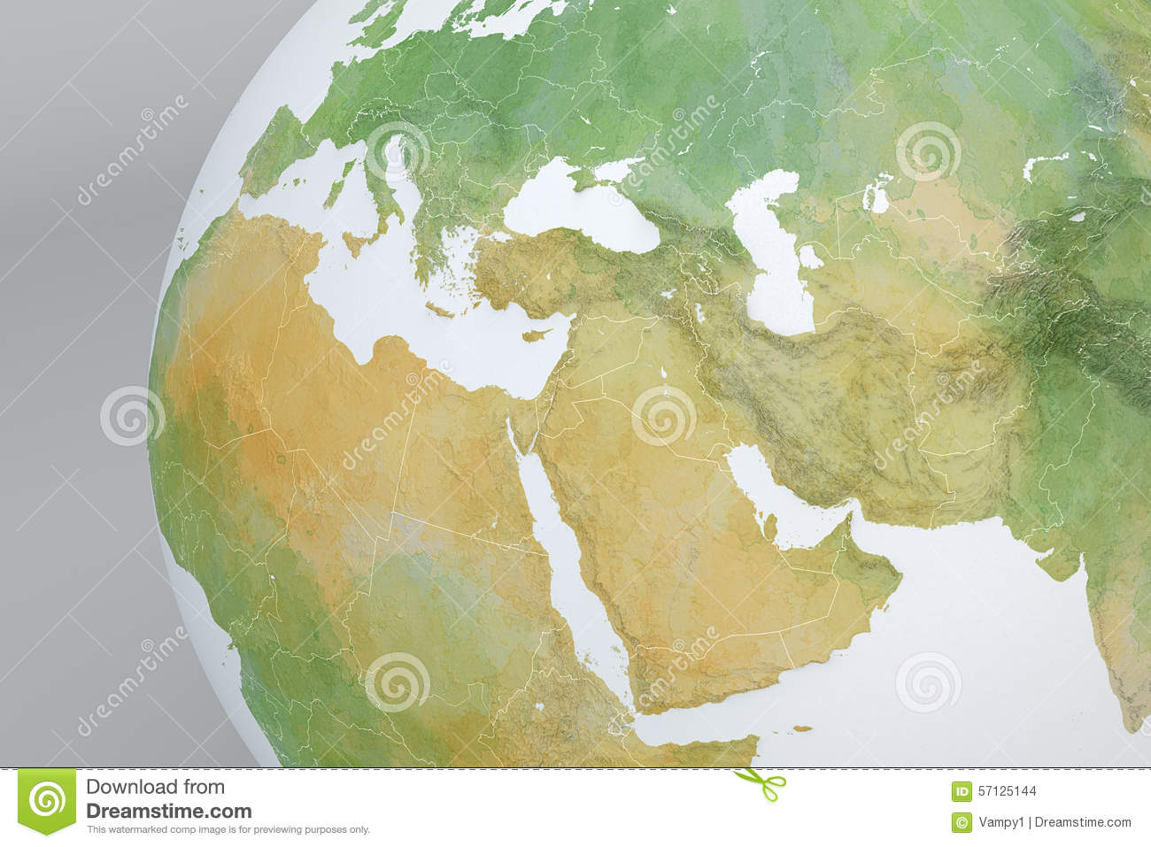 Globe Map With The Middle East, Asia, The Mediterranean, Africa ...