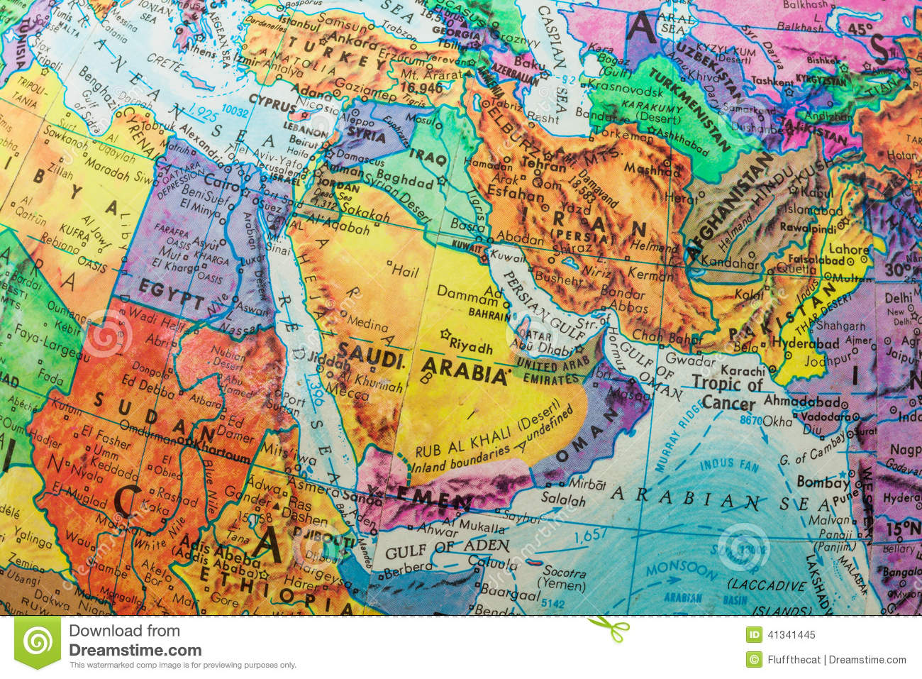 Globe Map Of Middle East Countries Closeup Stock Photo Image - Globe map with countries