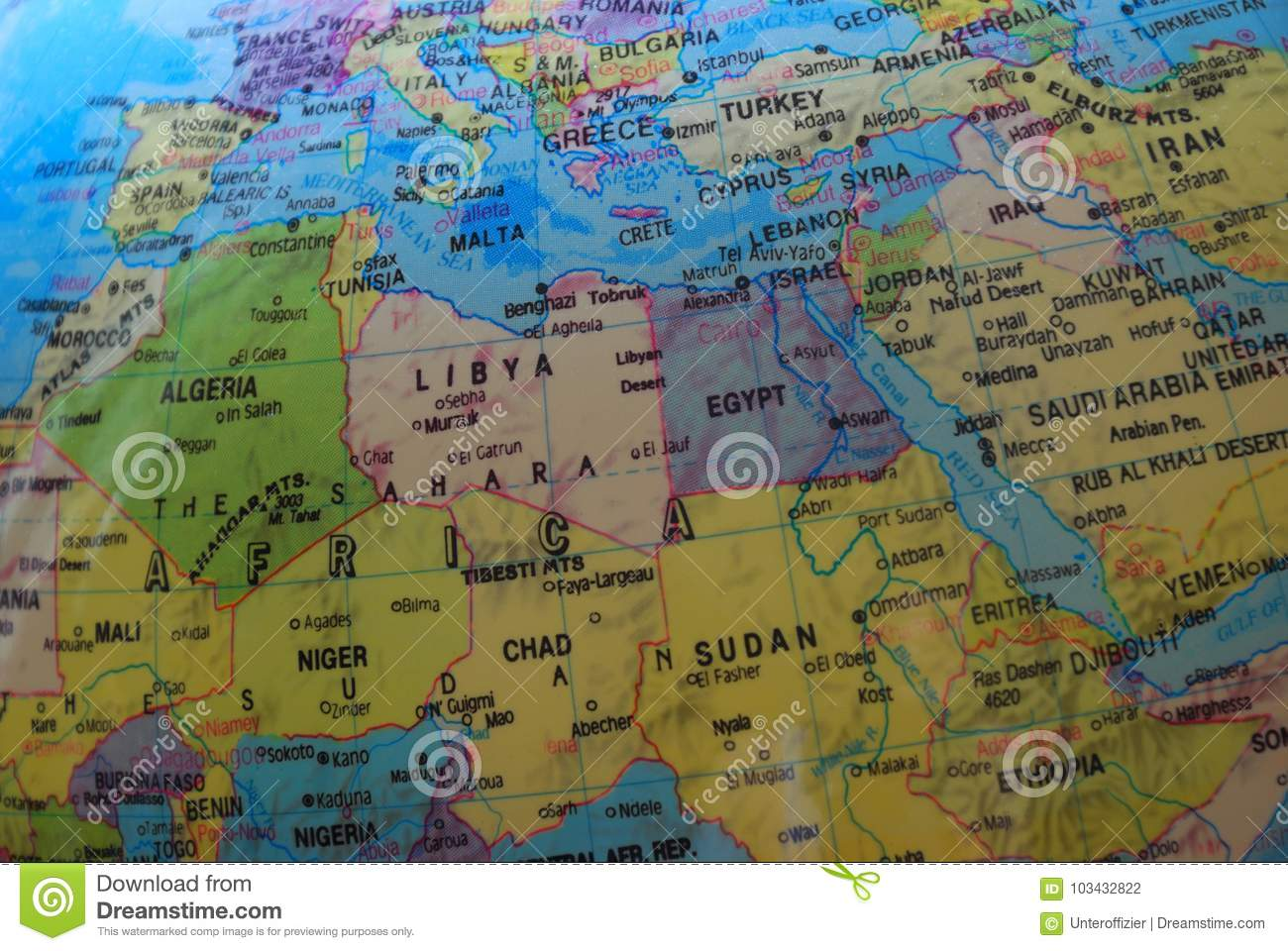Globe Map Of North Africa And The Middle East Stock Photo - Image of ...