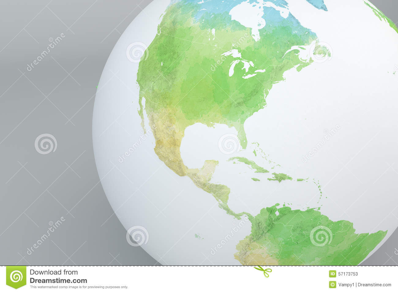 Globe Map Of North America, Relief Map Stock Illustration ...