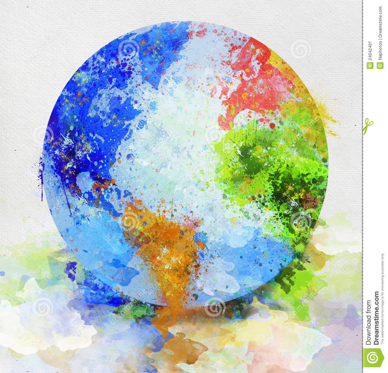 Globe Painting Stock Image - Image: 24042401 Earth Map Globe
