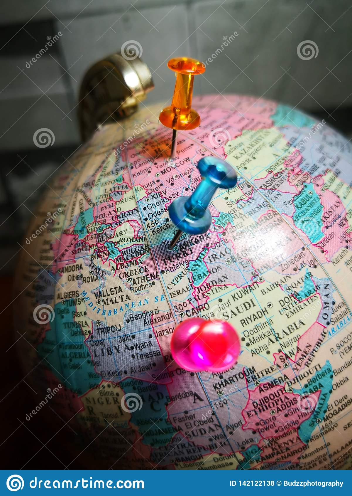 World globe with colorful pin. Copy space. Ideas and concept use.