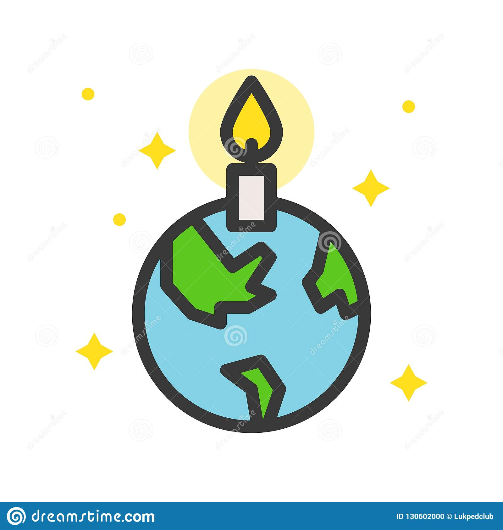 Globe Or Planet Earth Icon With Candle Filled Line Flat ...