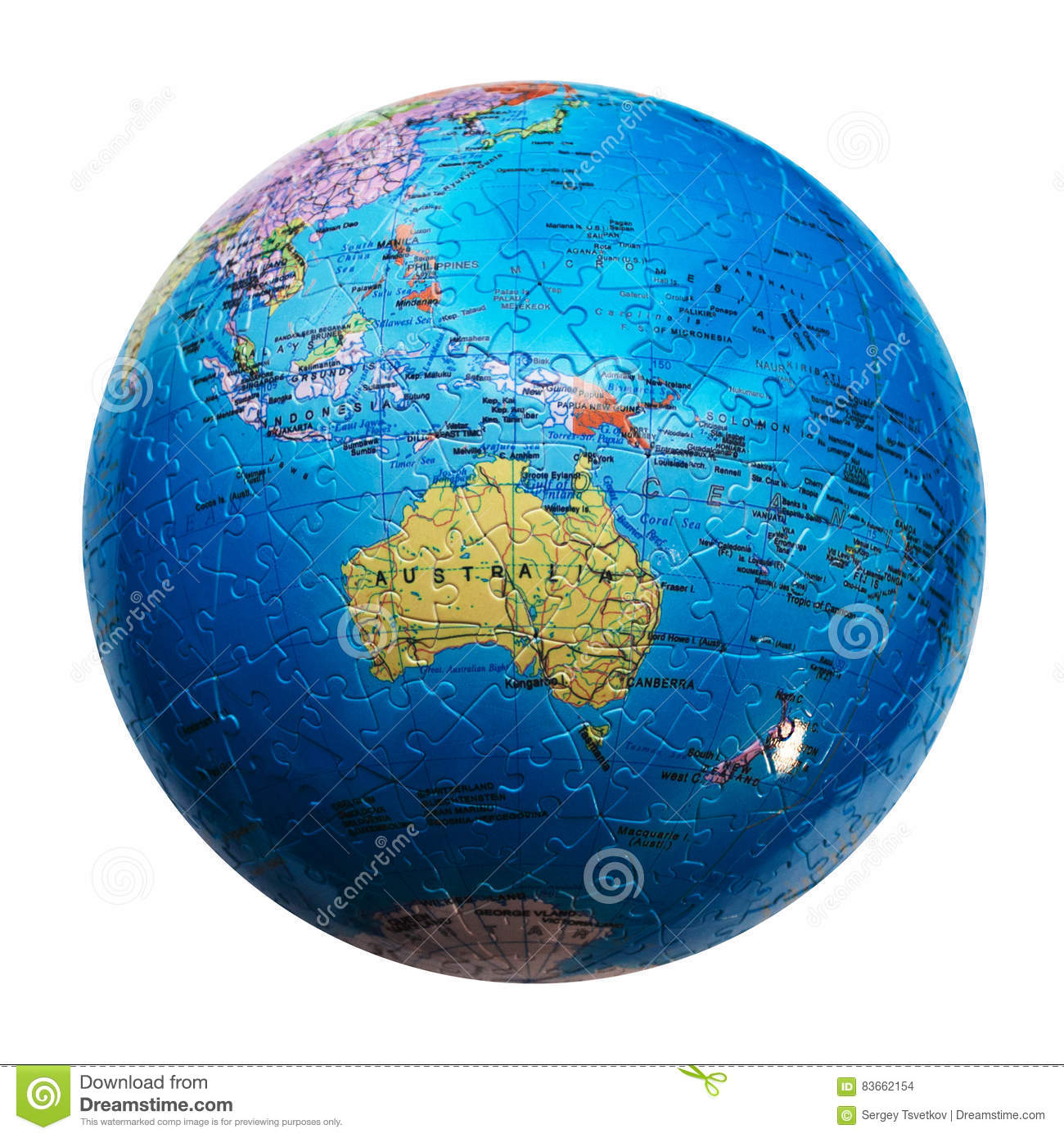 globe puzzle isolated map of australia and oceania