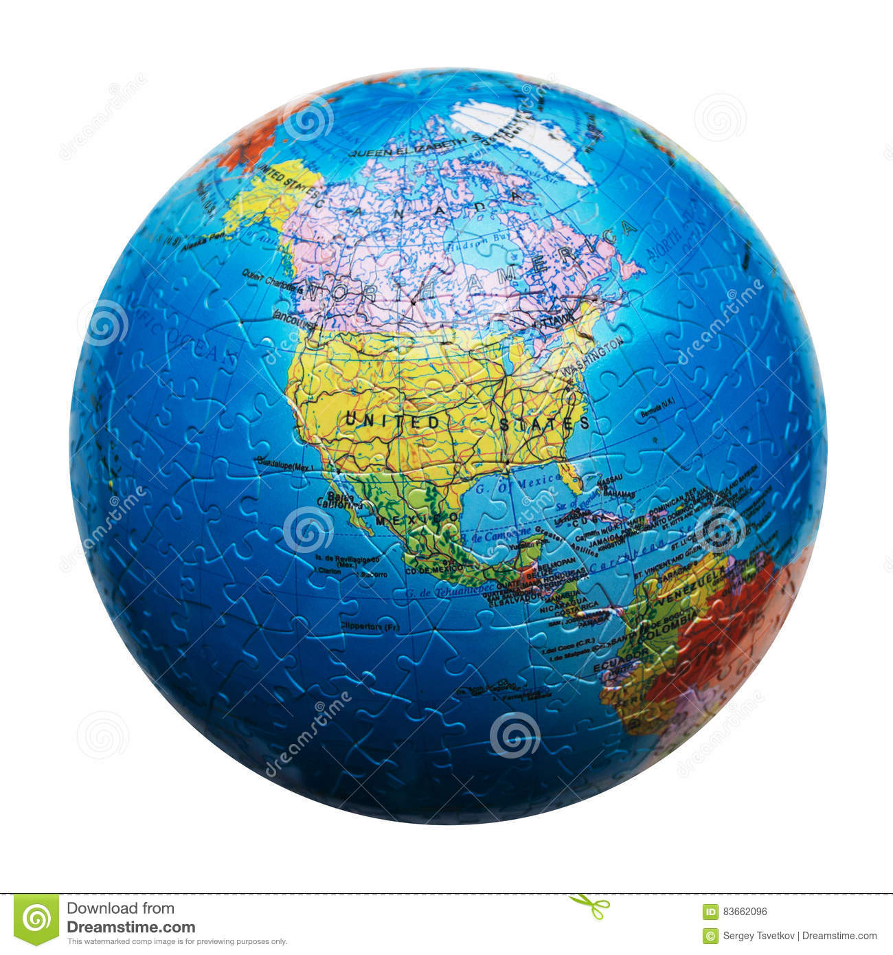 Us Map Globe.Globe Puzzle Isolated Map Of North America United States Canada