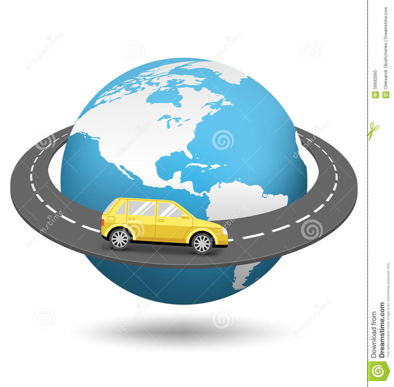 Globe With Road Around The World And Car On White Stock