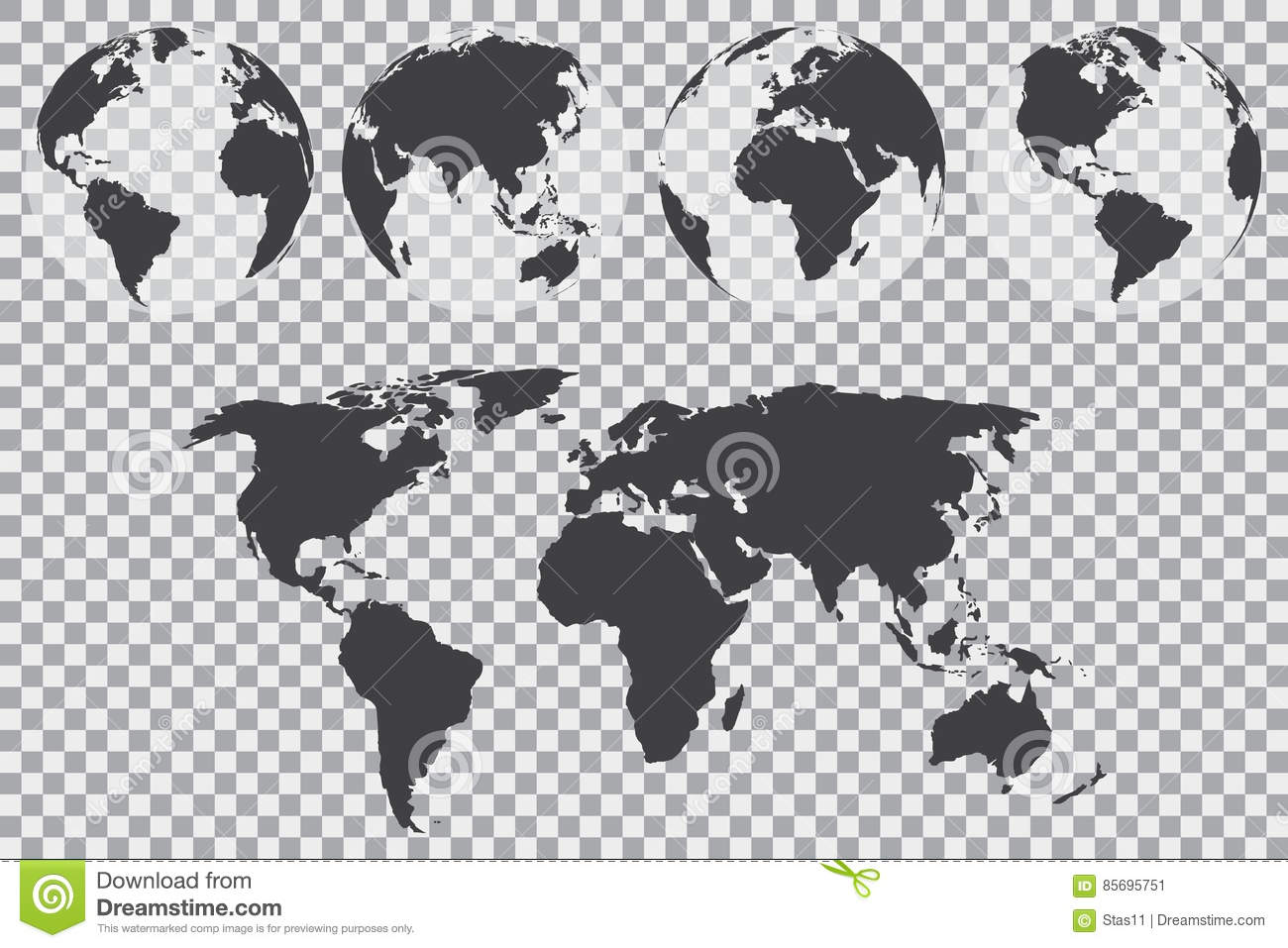 Globe set with world map on a transparent background vector globe set with world map on a transparent background vector illustration gumiabroncs Images