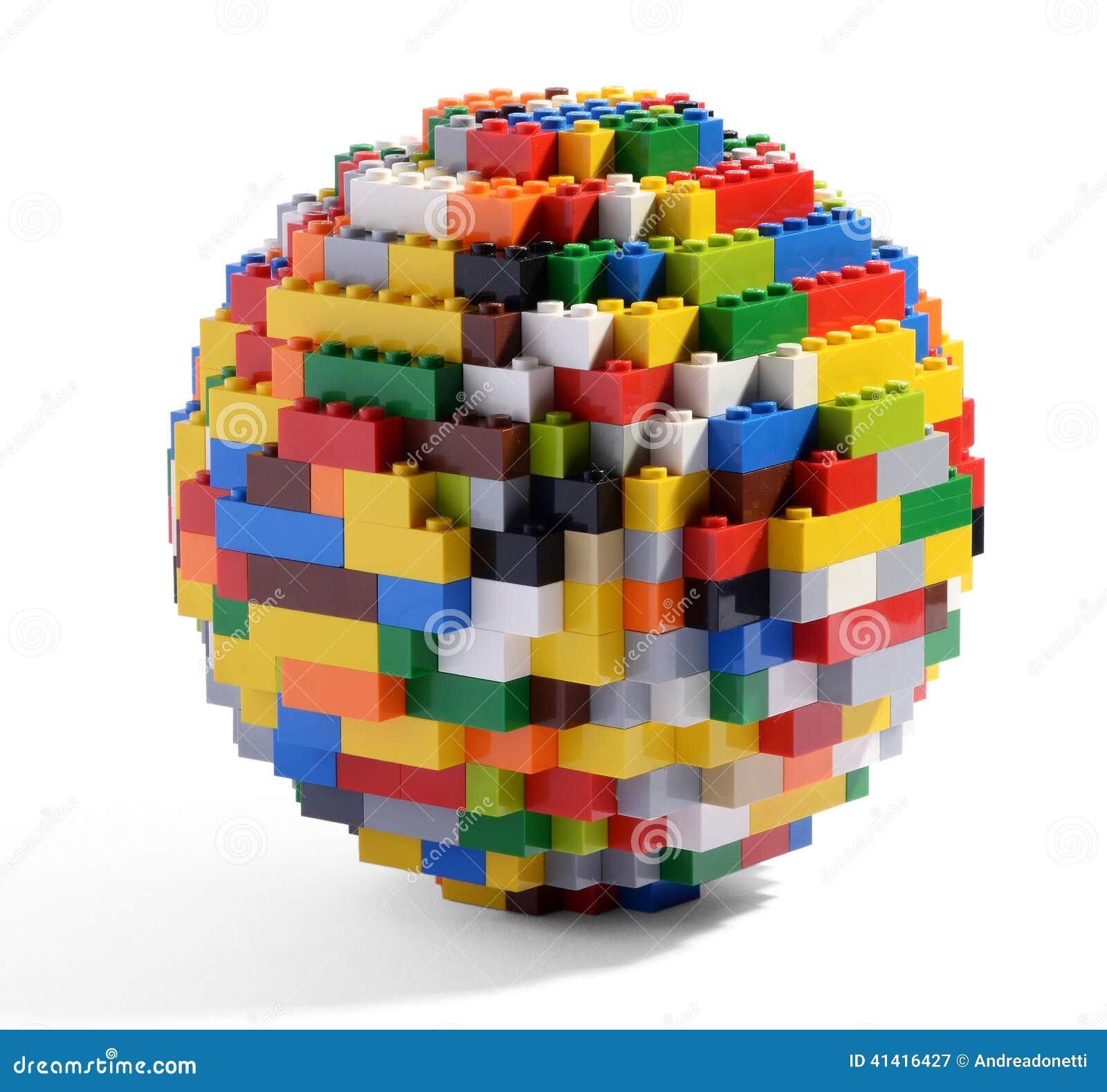 Globe or sphere of multicolored blocks