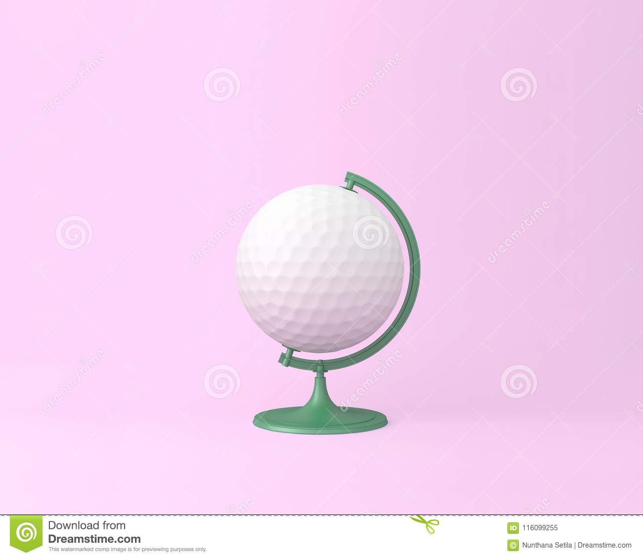 Globe sphere orb golf concept on pastel pink background. minimal