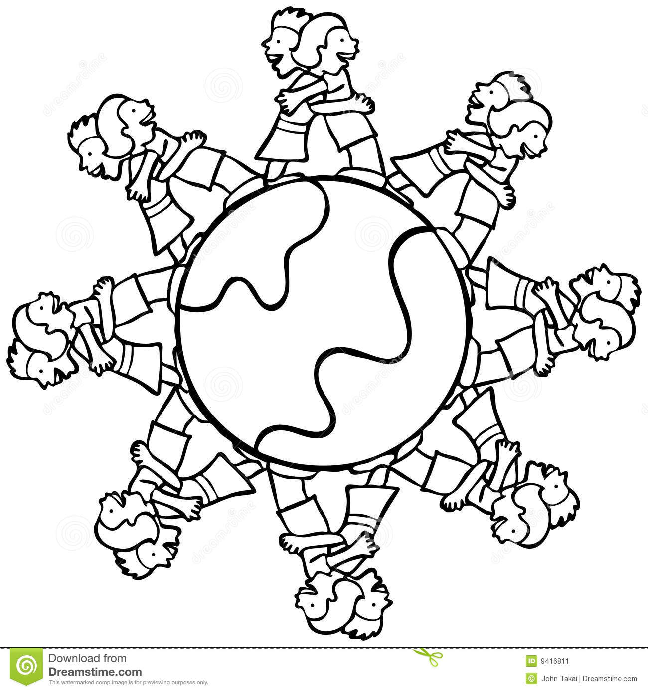 Children Holding Hands Around The World Coloring Pages