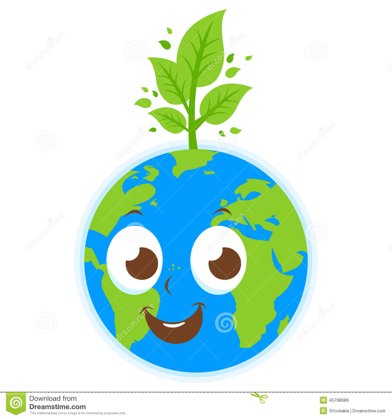 Planet Earth And Tree Cartoon Stock Vector - Image: 45798689