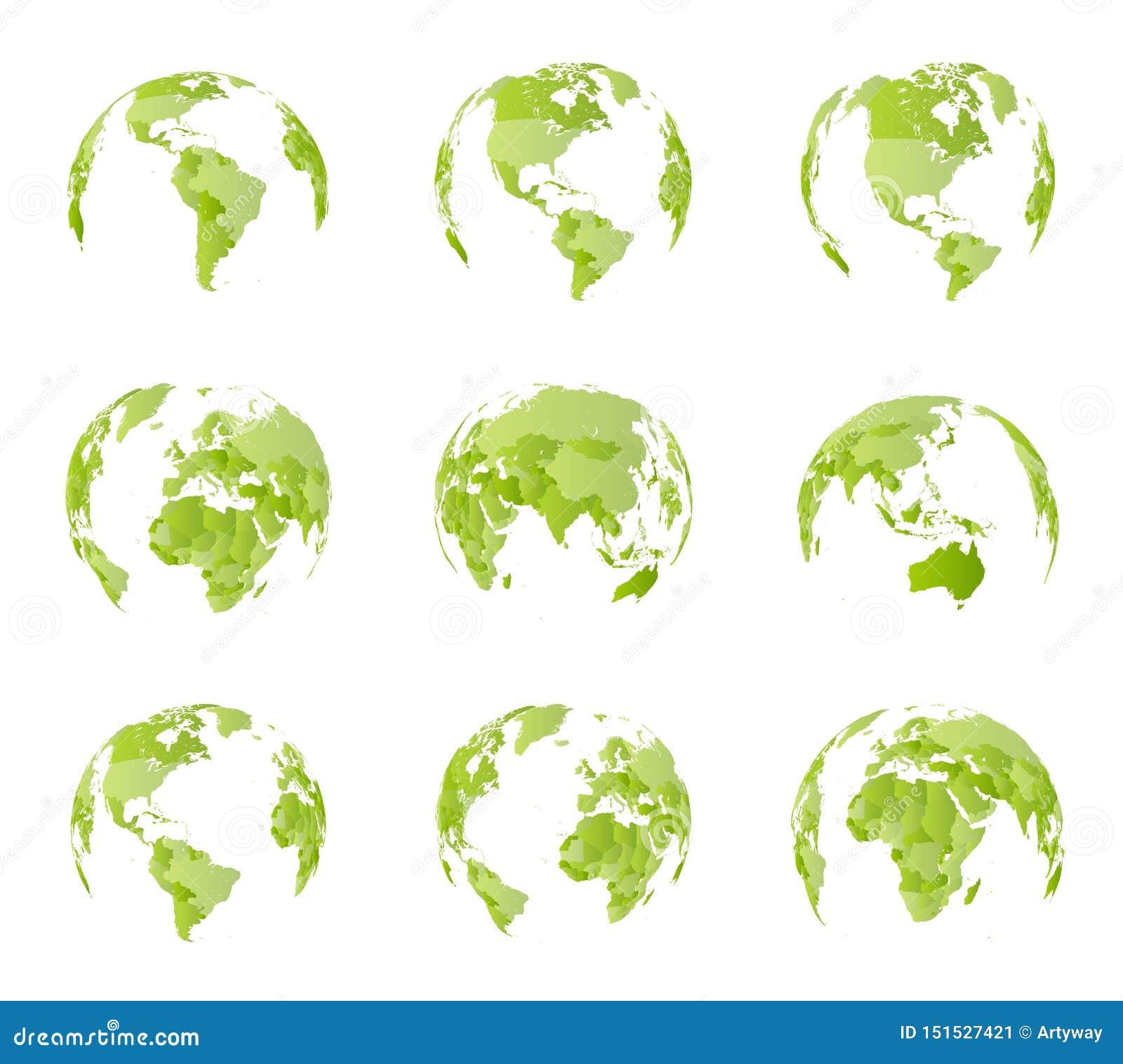 Globe, vue de côté différente Toutes les frontières de pays sur la carte politique du monde Oriental et hémisphère de l ouest Tou